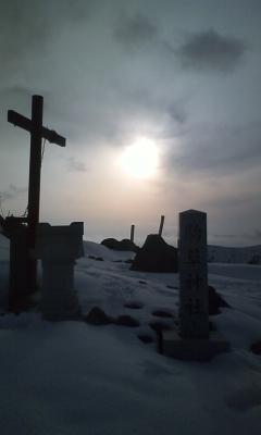 コマクサ神社と夕焼け